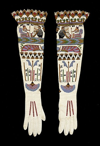 A pair of women's gloves with hieroglyphic motifs. From France, circa 1925.