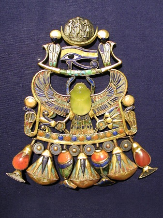An elaborate pendant from Tutankhamen's tomb, featuring the Eye of Horus.