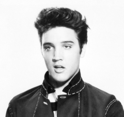 Elvis Presley with a pompadour hairstyle.