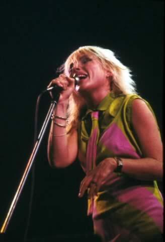Debbie Harry, performing with Blondie, 1979