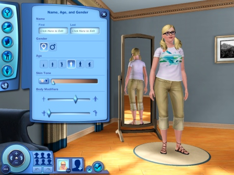 The create a sim opening page.