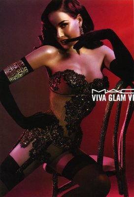 Dita Von Teese in MAC Viva Glam ad campagin.