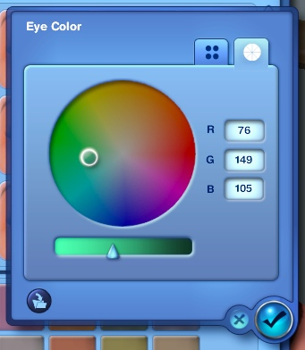 Color wheel in the Sims 3