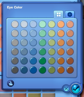 Selecting eye color in the Sims 3