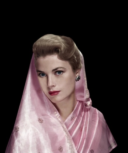 Actress Grace Kelly, later Princess of Monaco, with pink scarf.