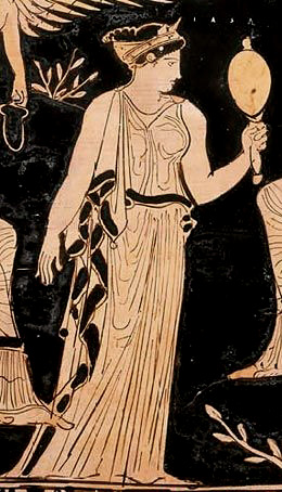 Iaso, goddess of recovery from illness. Detail of a Grecian urn, circa 400 BC.