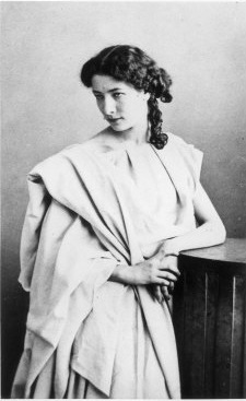 Sarah Bernhardt, 1860. At this time, even a hint of makeup, in public, was shocking and scandalous.