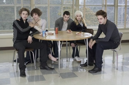 The perfect, beautiful, perfect, pure, pale, white, perfect Cullens in the school cafeteria.