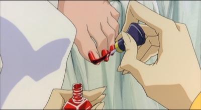 Touga paints Shiori's nails.