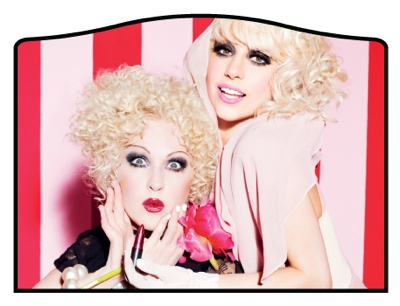 Cyndi Lauper and Lady Gaga for MAC's Viva Glam campaign.