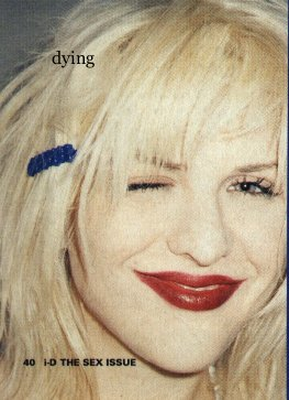Courtney Love in very 1990s makeup.