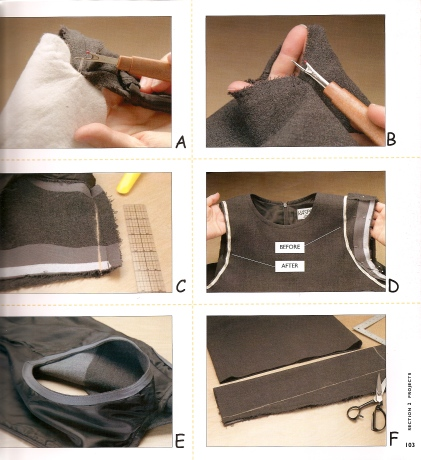 sewing diagram, showing how to reshape an armhole. From Altered Clothing, by Kathleen Maggio.