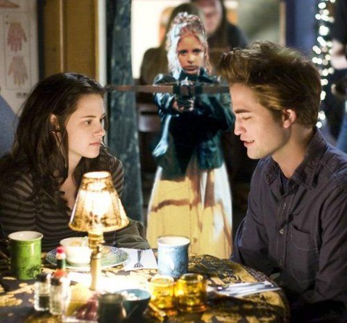 When Buffy the Vampire Slayer met Edward Cullen. Photo source unknown.