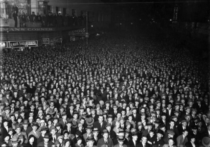 Crowd on Election night, Wellington, NZ.