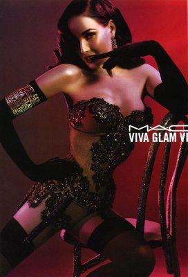 Dita Von Teese in MAC Viva Glam ad campagin.