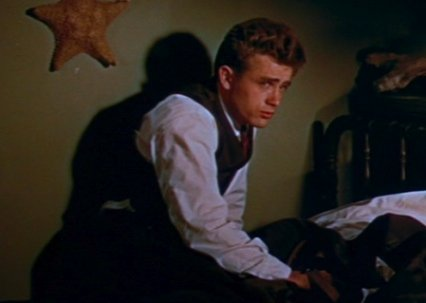 James Dean, icon of 1950s American fashion, in East of Eden.