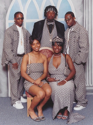 A group wears matching outfits at prom. Source unknown.