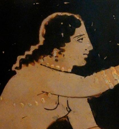 Detail of a Paestan red figure, circa 340 BC.