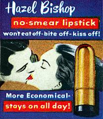 Hazel Bishop lipstick ad, 1954.