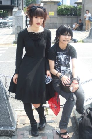 a Gothic Lolita girl with punk friend. Photo by Carter McKendry.