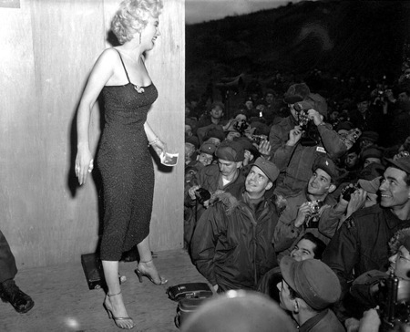 Marilyn Monroe at USO show in Korea.