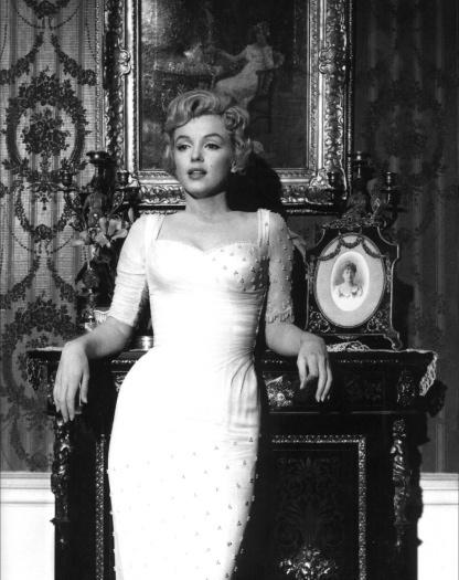 Marilyn Monroe in a big white dress.