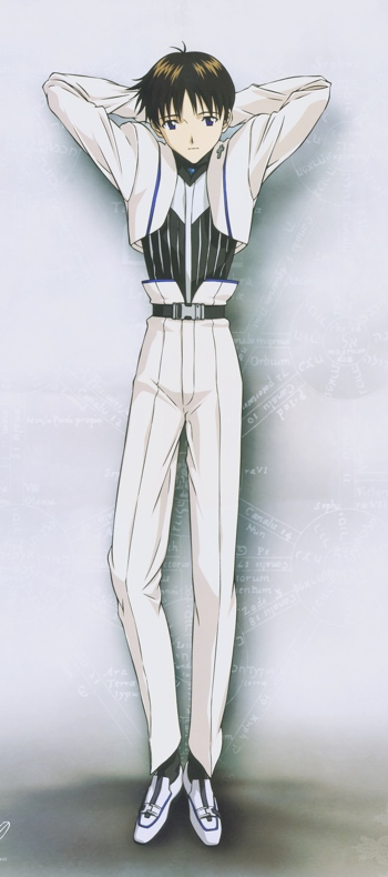 Shinji Ikari as a Gothic...? From Evangelion's 2008 wall calendar.