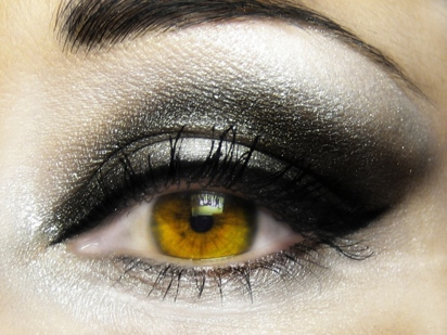 Dramatic eye makeup.