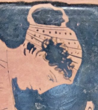 From a piece of Boeotian pottery, circa 450 to 424 BC.