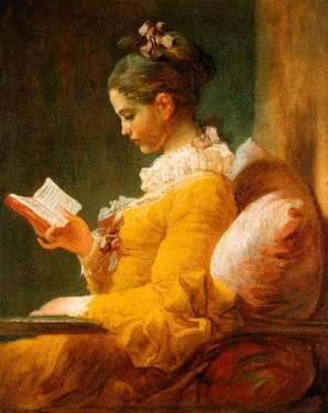 Young Woman Reading. Painting by Jean Honoré Fragonard.