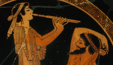 Banqueter and musician, detail. Tondo from an Attic red-figure cup, ca. 490 BC. Found in Vulci.